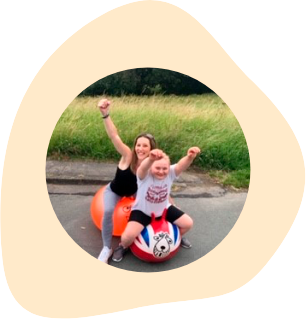Amy on her space hopper